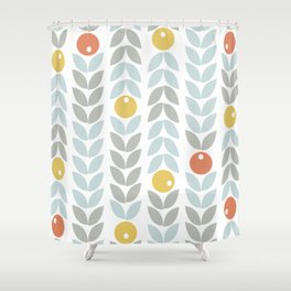 Mid Century Modern Retro Leaf and Circle Pattern Shower Curtain