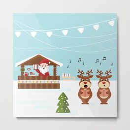Christmas market cartoon illustration with Santa Claus behind the stand Metal Print