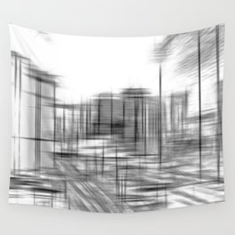 pencil drawing buildings in the city in black and white Wall Tapestry