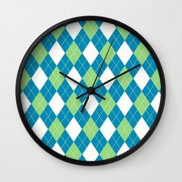 Blue Green Argyle Wall Clock