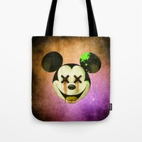 mickey Tote Bags featuring Mickey by wrong planet