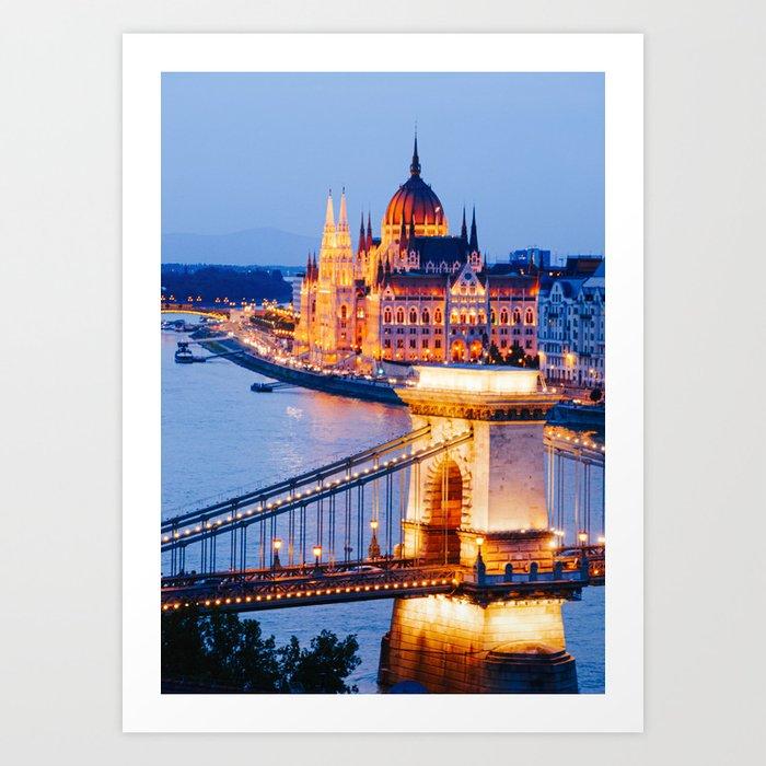 Budapest Szechenyi Chain Bridge Fine Art Print Art Print