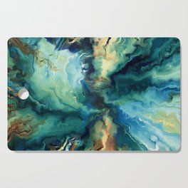 Marbled Ocean Abstract, Navy, Blue, Teal, Green Cutting Board