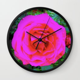 Pop Art Pink Red Rose Wall Clock