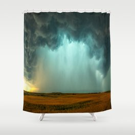 Open the Heavens - Panoramic Storm with Teal Hue in Northern Oklahoma Shower Curtain