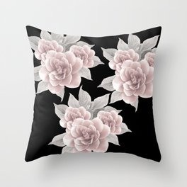 Dreamy Flowers on Black #1 #floral #decor #art #society6 Throw Pillow
