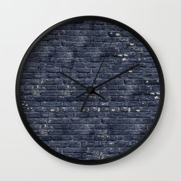 Black Brick Wall Wall Clock