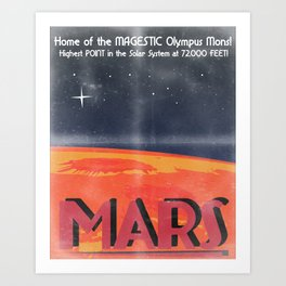 Retro Mars Travel Poster Art Print