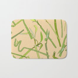 Scattered Bamboos on Beige Bath Mat