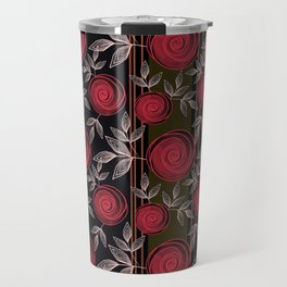 Cute red roses on striped background. Travel Mug