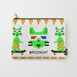 """""""Psychedelic Skateboarding Ugly Christmast Sweater Pixel Pizza Cat"""", by Brock Springstead Carry-All Pouch"""