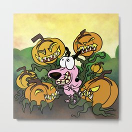 Man Eating Pumpkins Metal Print