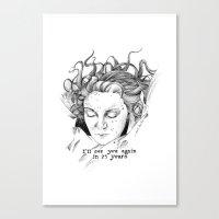 laura palmer Canvas Prints featuring Laura Palmer by Paula Benítez