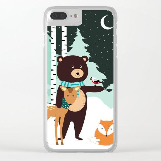 Friends in winter Clear iPhone Case