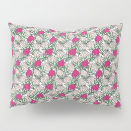 Leaves Protea (Pink on White) Pillow Sham