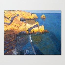 Aerial ocean, coast, Atlantic, Portugal, beach,sunset Canvas Print