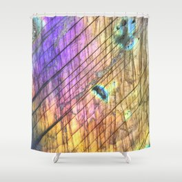 Golden Labradorite Agate Gemstone Shower Curtain