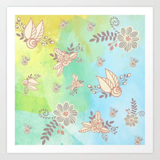 Soft flower pattern Art Print
