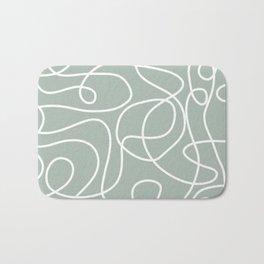 Doodle Line Art | White Lines on Light Gray Green Bath Mat