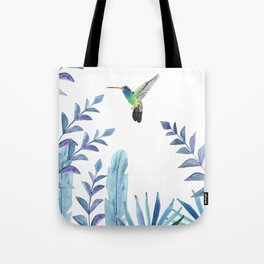 Hummingbird with tropical foliage Tote Bag