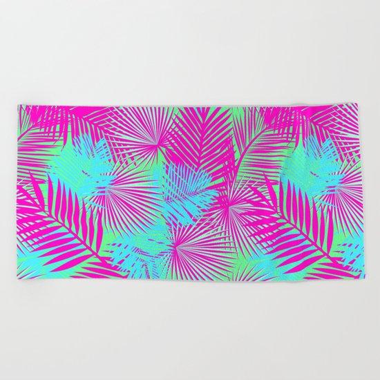 Neon Pink & Blue Tropical Print Beach Towel