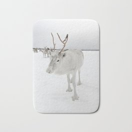 White Reindeer With Antlers In Snow Photo | North Of Norway Lapland Art Print | Travel Photography Bath Mat