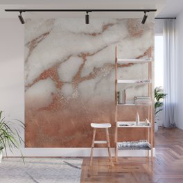 Shiny Copper Metal Foil Gold Ombre Bohemian Marble Wall Mural