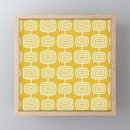 Mid Century Modern Atomic Rings Pattern Mustard Yellow Framed Mini Art Print
