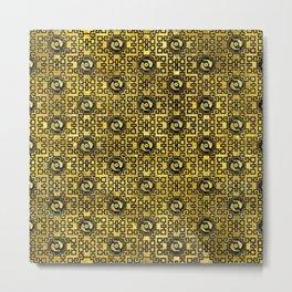 Luxury Oriental Gold on Black Koi Fish Pattern Metal Print