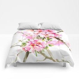 Cherry Blossom, pink floral art Comforters