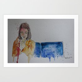Margot lighting up Art Print
