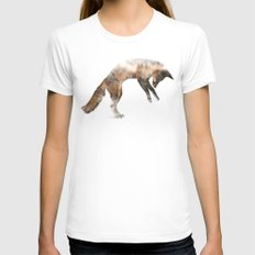 Jumping Fox SMALL White Womens Fitted Tee