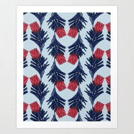 PROTEA IN COLUMBIA BLUE Art Print