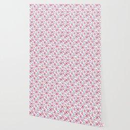 Magenta pink teal aqua watercolor modern floral Wallpaper