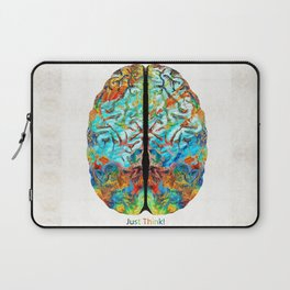 Colorful Brain Art - Just Think - By Sharon Cummings Laptop Sleeve