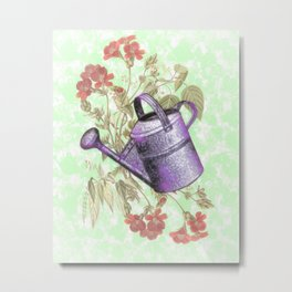 Floral with Watering Can Metal Print