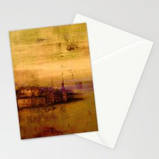 golden abstract landscape Stationery Cards