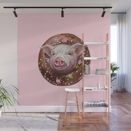 Pig Chocolate Donut Wall Mural