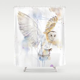 "Watercolor Painting of Picture ""White Owl"" Shower Curtain"