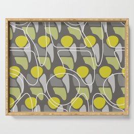 Retro Pattern Abstract Man Chartreuse Gray Serving Tray