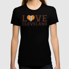LUV Cleveland Black Womens Fitted Tee LARGE