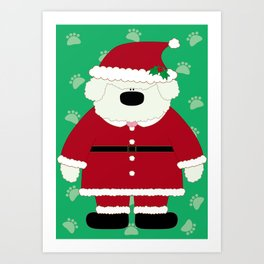 Doggy Santa Art Print