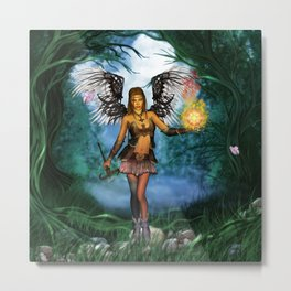 Fairy with wings and butterflies Metal Print