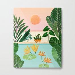 Shangri La Sunrise / Tropical Poolside Scene Metal Print