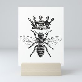 Queen Bee | Vintage Bee with Crown | Black and White | Mini Art Print