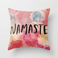 namaste Throw Pillows featuring Namaste by Laura Santeler