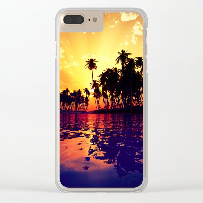 Coconut Island Clear iPhone Case