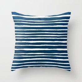 Geometrical navy blue white watercolor stripes Throw Pillow