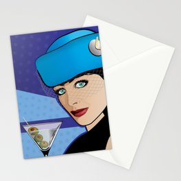 Beautiful Pop Art Girl with Martini and Stewardess Hat Stationery Cards
