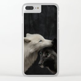 Wolves - Yin & Yang (Digital Drawing) Clear iPhone Case